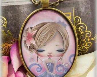 Girls Necklace, Flower Girl Gift, Girls Jewelry, Girl Pendant Necklace, Gift for Girls, Art Pendant, Cute Jewelry, Beautiful Girl Necklace