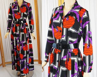 Vintage 1970s BoHo Maxi Dress Op Art Floral Design by Country Miss B40 W27