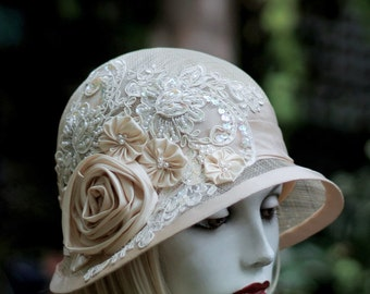 Summer Cloche Hat for Wedding Special Occasion in Sinmamay Ivory Lace Flowers