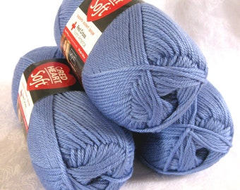 Red Heart Soft  PERIWINKLE blue yarn, medium worsted weight yarn