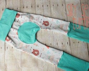 Maxaloones, Fox and Bear, woodland cloth diaper pants, grow with me pants