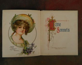 Vintage Book of Love Sonnets 1906 Litho Women