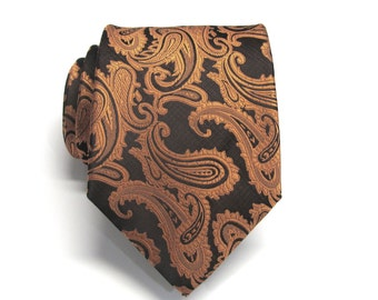 Mens Tie - Black Rust Orange Paisley Silk Necktie With Matching Pocket Square Option