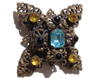 Vintage 30s Bohemian Brooch Art Deco Filigree & Glass Czech Pin
