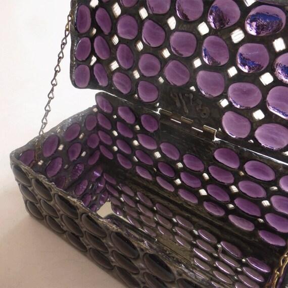 Glass jewelry box - Medieval chest  - Amethyst glass jewels