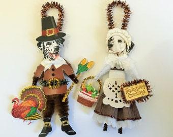 Dalmatian THANKSGIVING PILGRIM ornaments Dog ornaments vintage style chenille ORNAMENTS set of 2