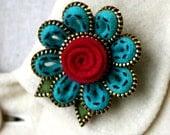 Felt  and brass zipper flower brooch
