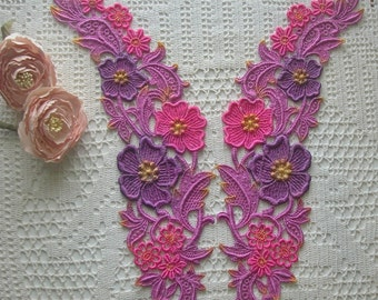 Hand Dyed Venise Lace Collar Appliques, Dark Colors, Embellishments, Quilts, Sewing
