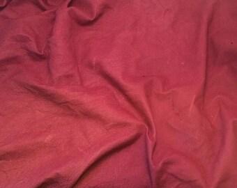 DEEP RASPBERRY Suede Lambskin Leather Hide Piece #1