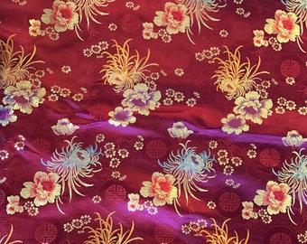 Burgundy Red Floral Medallions - Faux Silk Brocade Fabric - 1 Yard