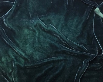 Deep TEAL BLUE GREEN - Hand Dyed Burnout Silk Velvet 1 Yard