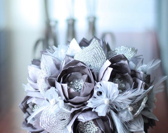Made to order - Bridal bouquet CINDY - Whimsical Delights Collection - Lotus in a tussie mussie - with sparkling rhinestones.