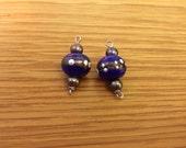 Blue lampwork bead earrings