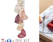 20% OFF - Heart Pattern DIY Kit - Crochet pendant - Jewelry Making KIT - Crochet Pattern Kit - Gift For Her - Valentine's Gift , Learn Wire