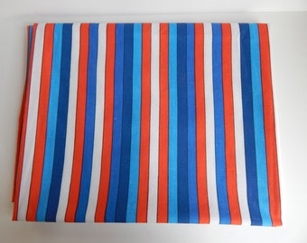 Vera Neumann Red, White, and Blue Striped Twin Sized Flat Sheet