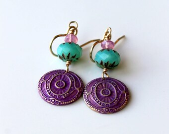 Bohemian Earrings / Turquoise and Pink / Magenta Purple Brass / Dangle Earring / Summer Earrings / Casual and Carefree Jewelry / Boho Chic