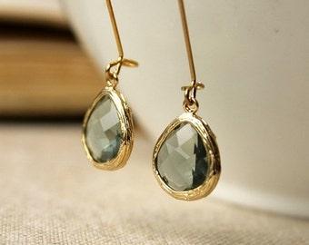 On SALE / CIJ Sale / Grey Framed Glass Dangle Earrings, Charcoal, Gold Framed, Elegant, Translucent, Gray