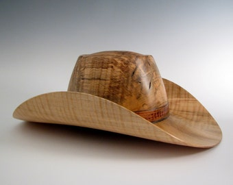 Curly Maple Wood Turned Cowboy Hat - Ambrosia Maple Hat - Wearable Art Hat - Wooden Hat - Artistic Wood Hat - Cowboy Hat