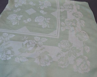 Vintage 1940s Damask Tablecloth, Square 48x48 inches, Mint Green Floral Kitchen Linens
