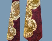 Vintage 40s 50s Feather Print Wide Satin Tie