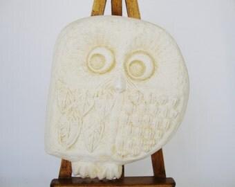 vintage plaster chalkware owl
