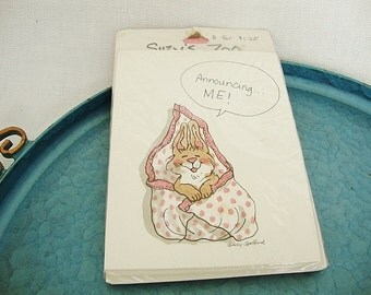 vintage birth announcement suzys zoo set of 8
