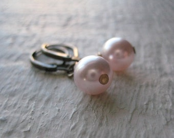 Swarovski Pearls And Brass Earrings- Pink, Brass, Gift, Classic, Everyday, Crystal, Simple