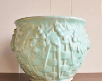 1930s Nelson McCoy CachePot, Blue, Sea Foam, Planter Pottery