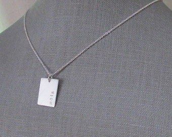 Silver Bar Rectangle Necklace | Custom Personalized Silver Necklace | .925 SS | Silver Dog Tag | Engraved | Brushed Sterling Silver Charm
