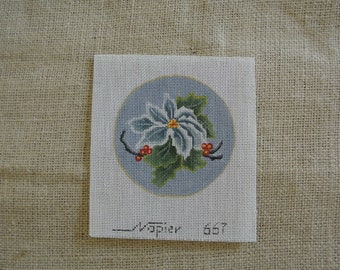 Needlepoint Canvas - a lovely Poinsettia Christmas Ornament