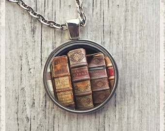 Vintage Book Pendant Necklace, Book Necklace, Book Jewelry, Literary Jewelry, Glass Necklace, Mini Book Necklace, Teacher Gift
