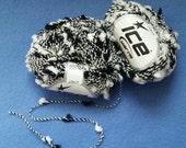 Black and White Pom Pom Twist Yarn by Ice Yarns - one skein of novelty yarn 21401