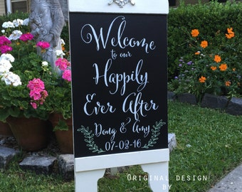 Welcome to our Wedding, HAPPILY EVER AFTER, Chalkboard Style Signs, Bride and Groom Signs, A Frame Signs, Sandwich Board Signs, 37 x 16