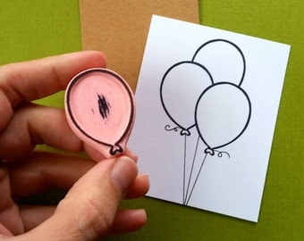 One Balloon Outline - Hand Carved Rubber Stamp