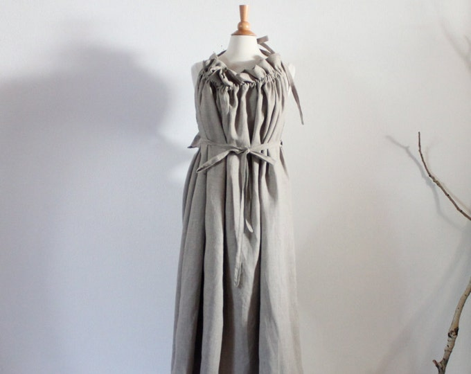 alternative wedding outfit full length plus size linen ruffle pleats versatile dress super roomy