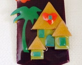 Vintage House Pins by Lucinda, Brown, Green , Red, Tropical, Tiki, Layered Plastic, Art