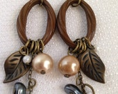 Boho Brown Whimsical Long Dangle Earrings, Pierced, Nature Inspired, 4 inches long, Brass Accents