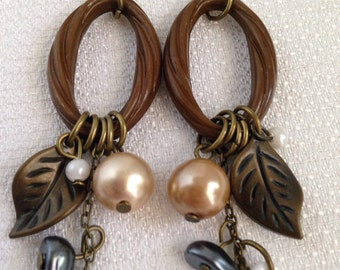 Brown Boho Whimsical Long Dangle Earrings, Pierced, Nature Inspired, 4 inches long, Brass Accents
