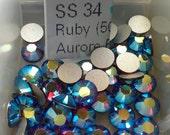 12 ss34 Ruby AB Flatbacks 34ss Flatbacks 7mm Flatbacks Art 2028 Swarovski Ruby ab Flatbacks Ruby ab 34ss Ruby ab ss34 Flatbacks Ruby ab Cabs