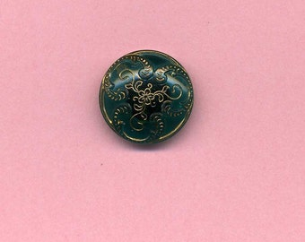 Antique Victorian Glass Button - Blue Green - Late 1800's