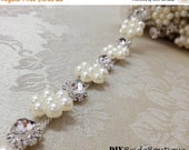 """15% OFF 18"""" Crystal rhinestone chain trim, rhinestone chain trim, rhinestone trim, cup-chain trim, pearl trim,  DIY wedding sash, headband"""