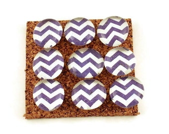 Decorative Memo Board Pins Push Pins  Thumb Tacks Cork Board Pins  Purple Chevron (P120)