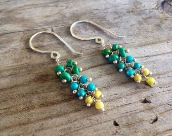Sterling silver, blue, green and yellow turquoise, cluster earrings