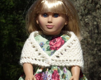 18 inch knitted Prarie Doll Shawl - Off White - Antique Pearl Button