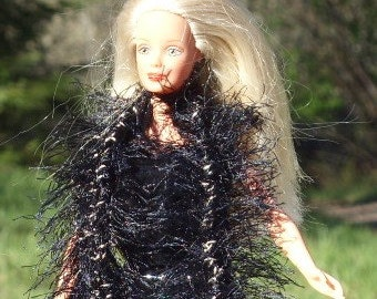 Barbie Knitted Faux Fur Boa /Scarf - Black Faux Fur - Added White CrochedThread Wraped in a Thin Gold Thread