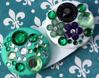 Weekend in New Orleans French Quarter Purple Green Contact Lens Case Burlesque Dancer King Cake