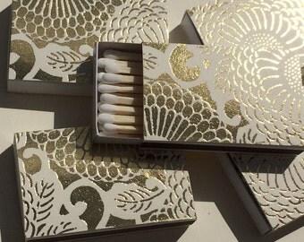 10 Matchbox Party Favors Wedding gold metallic floral japanese flower modern art deco Personalized Custom Sparkler Perfect Match Cigar Bar