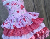 ON SALE Ready to Ship Snoopy Peanuts Charlie Brown Pink Hearts Girl Valentine Dress Size  5 6