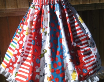 Ready to Ship Custom Dr Seuss Woman Tween Teacher Librarian Full Skirt 23 inches long