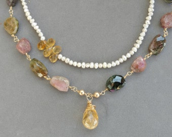 Long Tourmaline Gemstone Necklace, Citrine Pendant, Designer, Citrine Teardrops, 2 Strand, Pearls, 24K Gold, SUNSCAPE